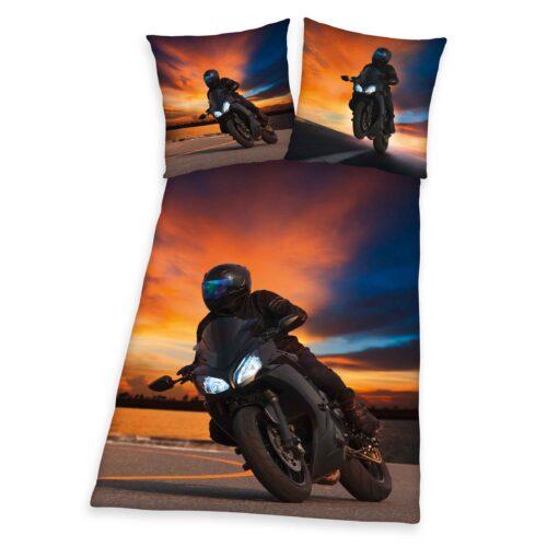 Produktbild Bettwäsche Motorrad schwarz rot Bettwäsche Vorderseite Rückseite