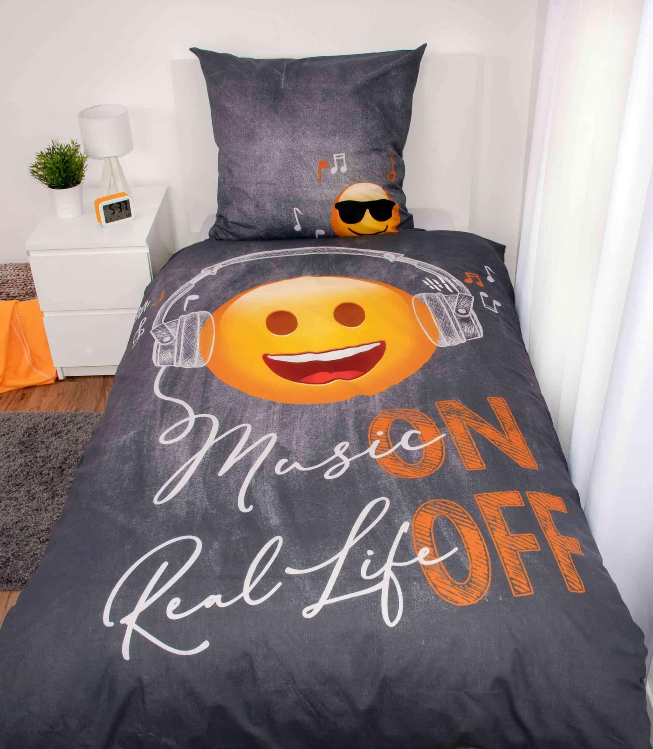 Produktbild Bettwäsche Emotix Grau ganze Bettwäsche auf Bett