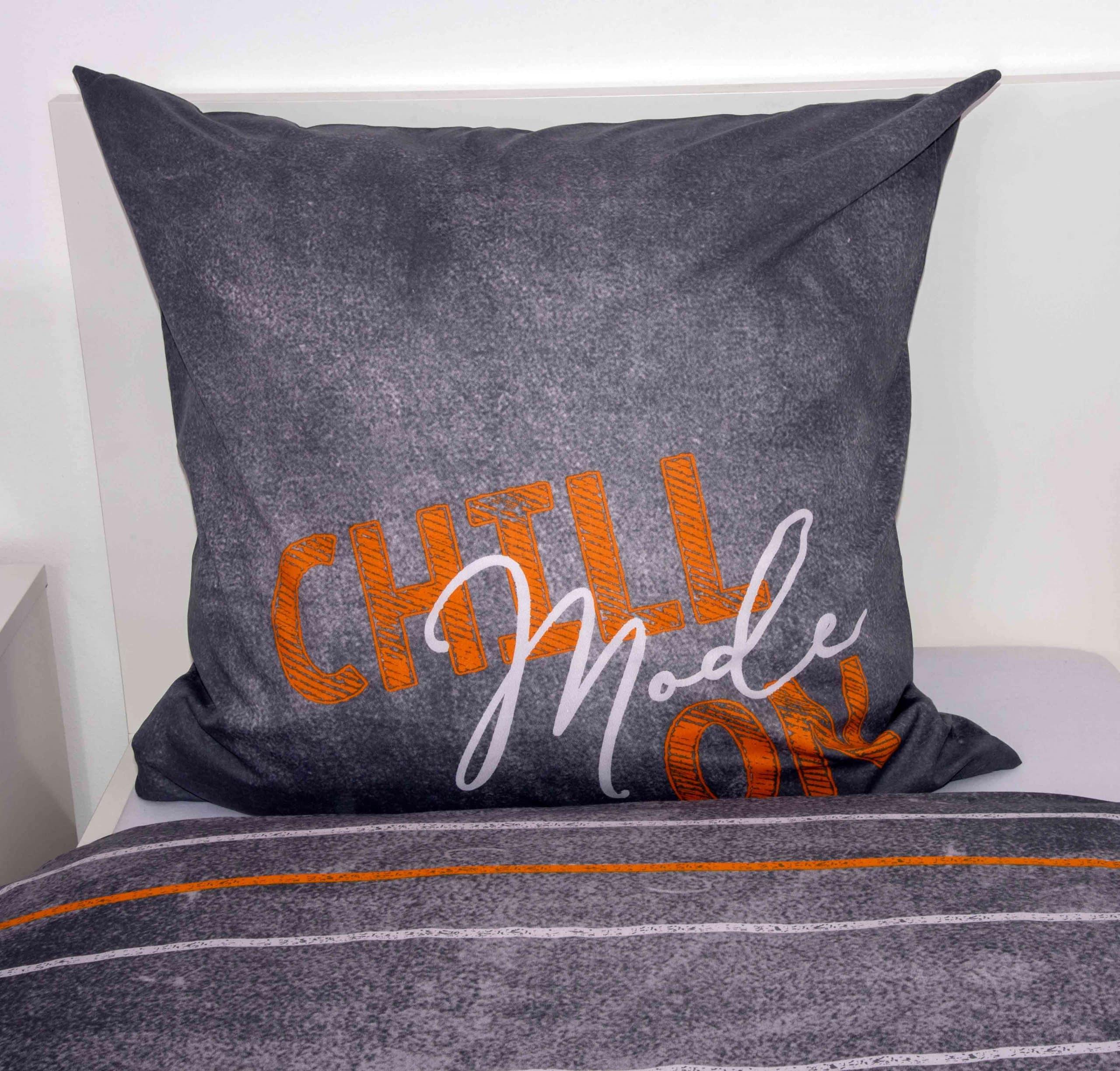 Produktbild Bettwäsche Emotix Grau Kissen Rückseite