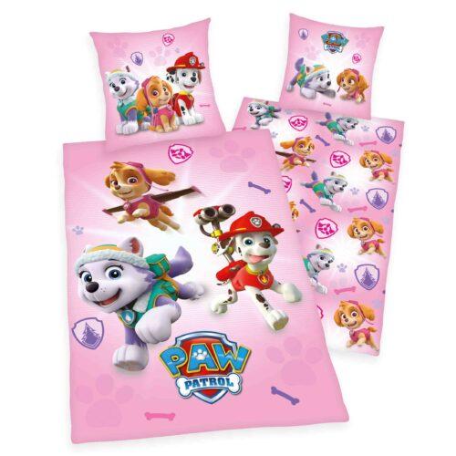 Produktbild Kinderbettwäsche Paw Patrol pink Bettwäsche Vorderseite Rückseite
