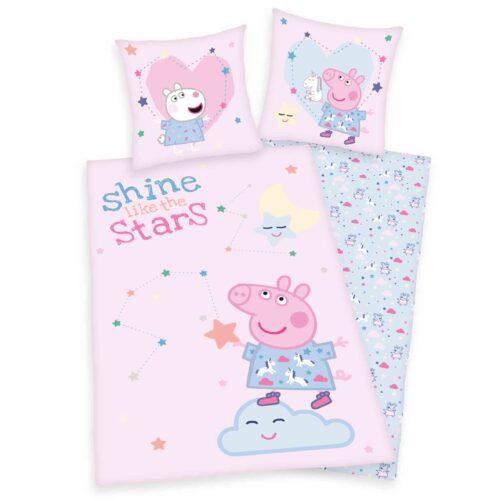 Produktbild Kinderbettwäsche Peppa Wutz pink Bettwäsche Vorderseite Rückseite