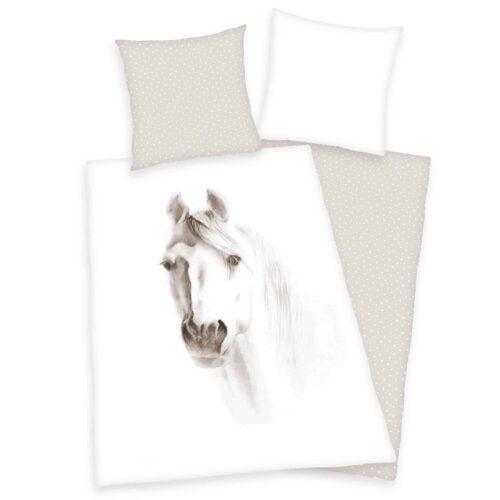 Produktbild Bettwäsche Pferd weiß beige Bettwäsche Vorderseite Rückseite