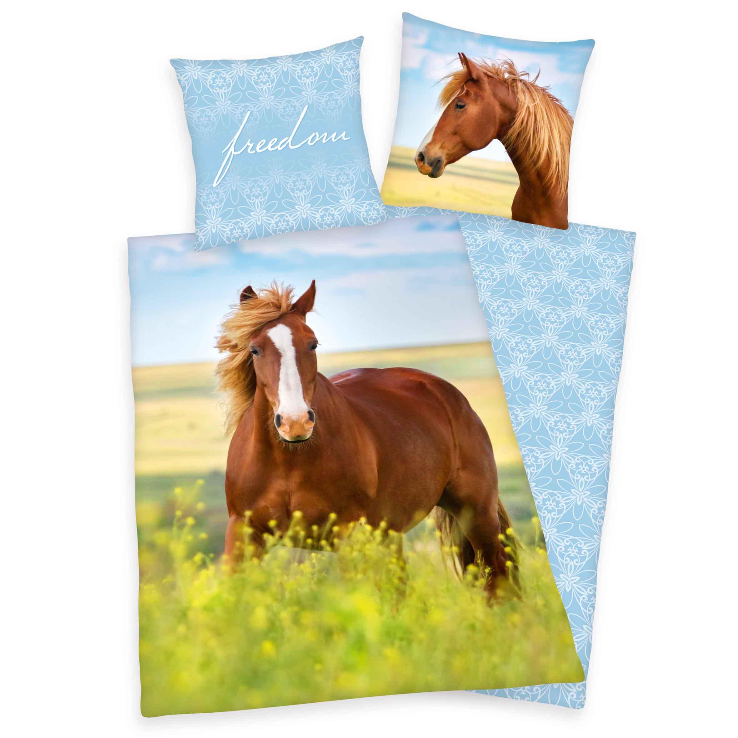 Produktbild Bettwäsche Pferde Rapsfeld blau grün braun Bettwäsche Vorderseite Rückseite