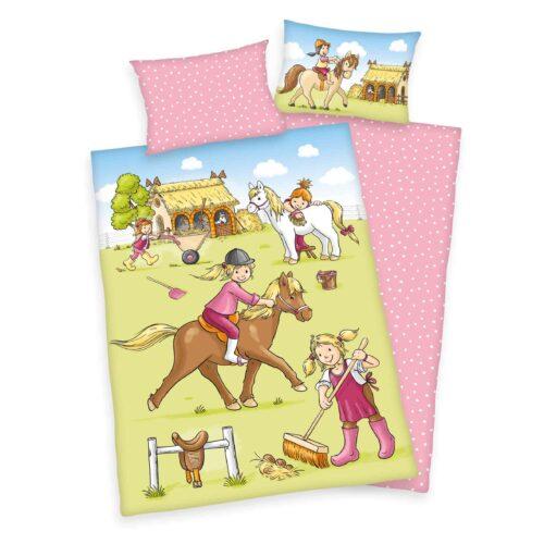 Produktbild Babybettwäsche Pferde Mehrfarbig Bettwäsche Vorderseite Rückseite