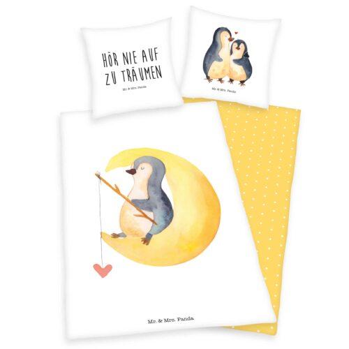 Produktbild Bettwäsche mr and mrs Panda weiß gelb Bettwäsche Vorderseite Rückseite