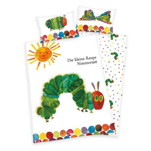 Produktbild Babybettwäsche Raupe Nimmersatt weiß grün Bettwäsche Vorderseite Rückseite