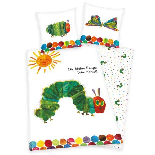 Produktbild Kinderbettwäsche Raupe Nimmersatt weiß grün Bettwäsche Vorderseite Rückseite