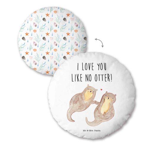 Produktbild Rundkissen Otter mr mrs Panda weiß Rundkissen Vorderseite Rückseite