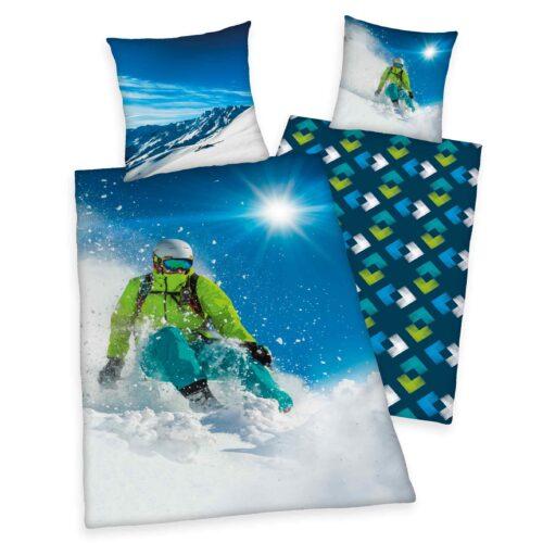 Produktbild Bettwäsche Wintersport Skifahrer blau weiß Bettwäsche Vorderseite Rückseite
