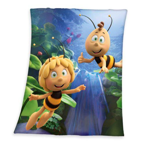 Produktbild Soft Fleece Decke Biene Maja blau gelb Decke Vorderseite