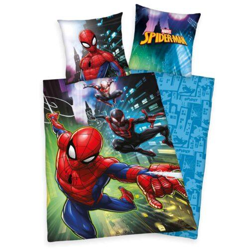 Produktbild Bettwäsche Spiderman Bettwäsche rot dunkelblau grün Vorderseite Rückseite
