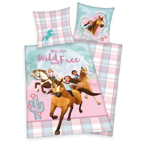 Produktbild Kinderbettwäsche Spirit wild und frei rosa blau Bettwäsche Vorderseite Rückseite