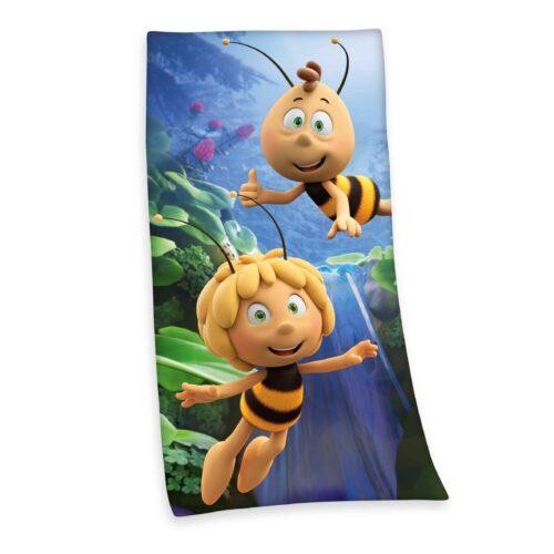 Produktbild Strandtuch Biene Maja blau gelb Strandtuch Vorderseite