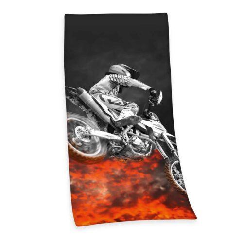 Produktbild Strandtuch Motorcross schwarz rot Strandtuch Vorderseite