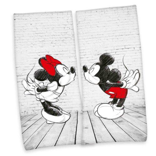 Produktbild Partner set Strandtuch Disney Mickey Minnie Mouse grau rot Strandtuch Vorderseite