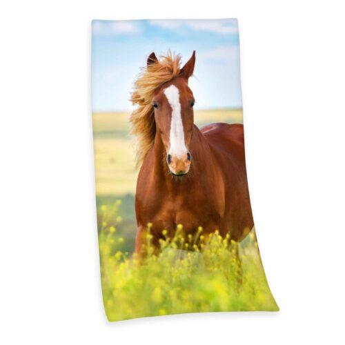 Produktbild Strandtuch Pferd grün braun Strandtuch Vorderseite