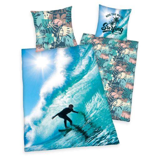 Produktbild Wendebettwäsche Surfer Hawaii blau Bettwäsche Vorderseite Rückseite