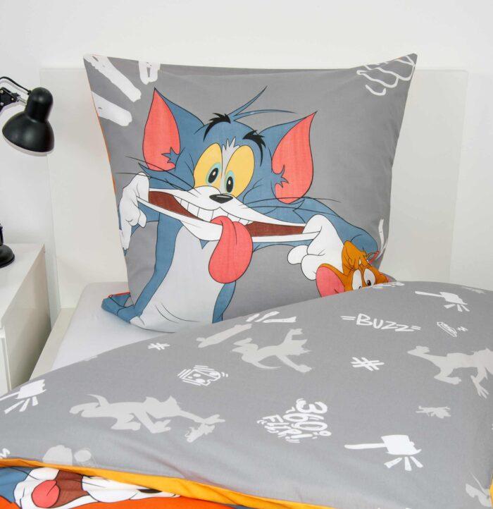 Produktbild Bettwäsche Tom & Jerry Orange Kissen Vorderseite und Decke umgeklappt