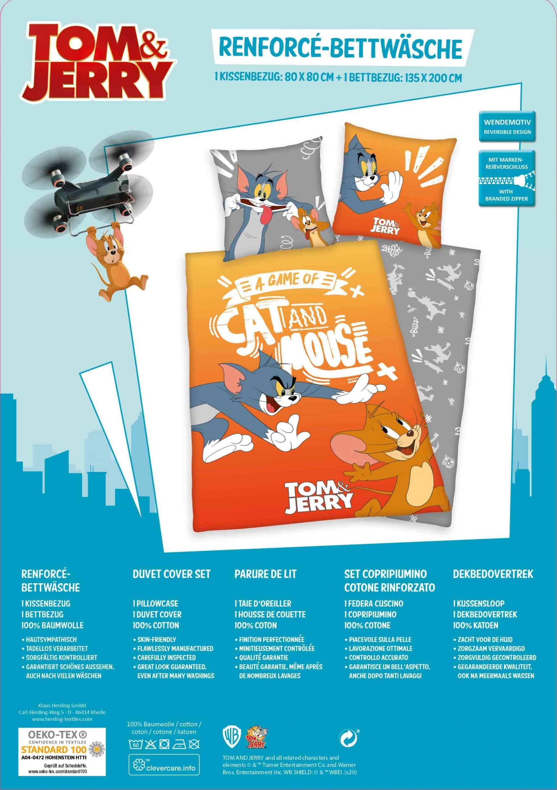 Produktbild Bettwäsche Tom & Jerry Orange Einleger Rückseite