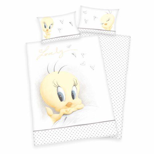 Produktbild Babybettwäsche Tweety looney tunes grau weiß gelb Bettwäsche Vorderseite Rückseite