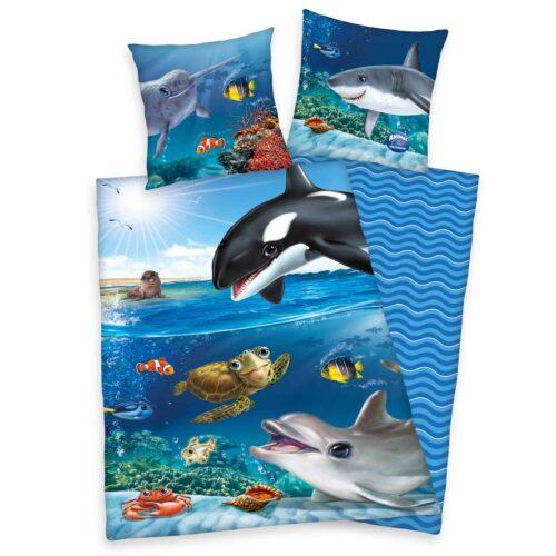 Produktbild Bettwäsche Unterwasserwelt animal club blau Bettwäsche Vorderseite Rückseite