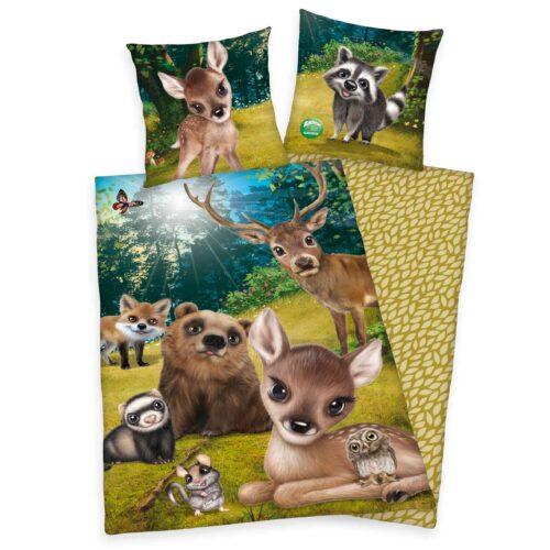 Produktbild Bettwäsche Waldtiere animal club grün braun Bettwäsche Vorderseite Rückseite