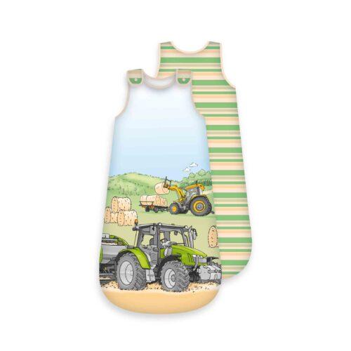 Produktbild Baby Schlafsack Bauernhof Traktor grün Größe 90cm Schlafsack Vorderseite Rückseite