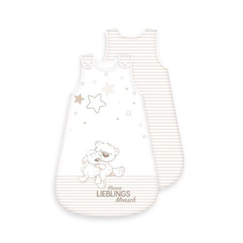 Produktbild Baby Schlafsack kleiner Lieblingsmensch Größe 70cm beige Schlafsack Vorderseite Rückseite