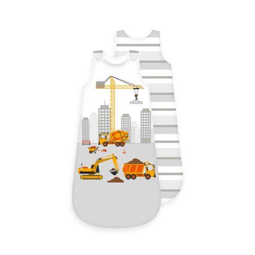Produktbild Baby Schlafsack Kran Bagger Baustelle weiß grau Größe 90cm Schlafsack Vorderseite Rückseite
