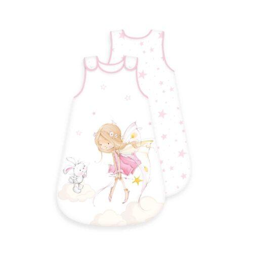 Produktbild Baby Schlafsack little Fairy rosa weiß Größe 70cm Schlafsack Vorderseite Rückseite