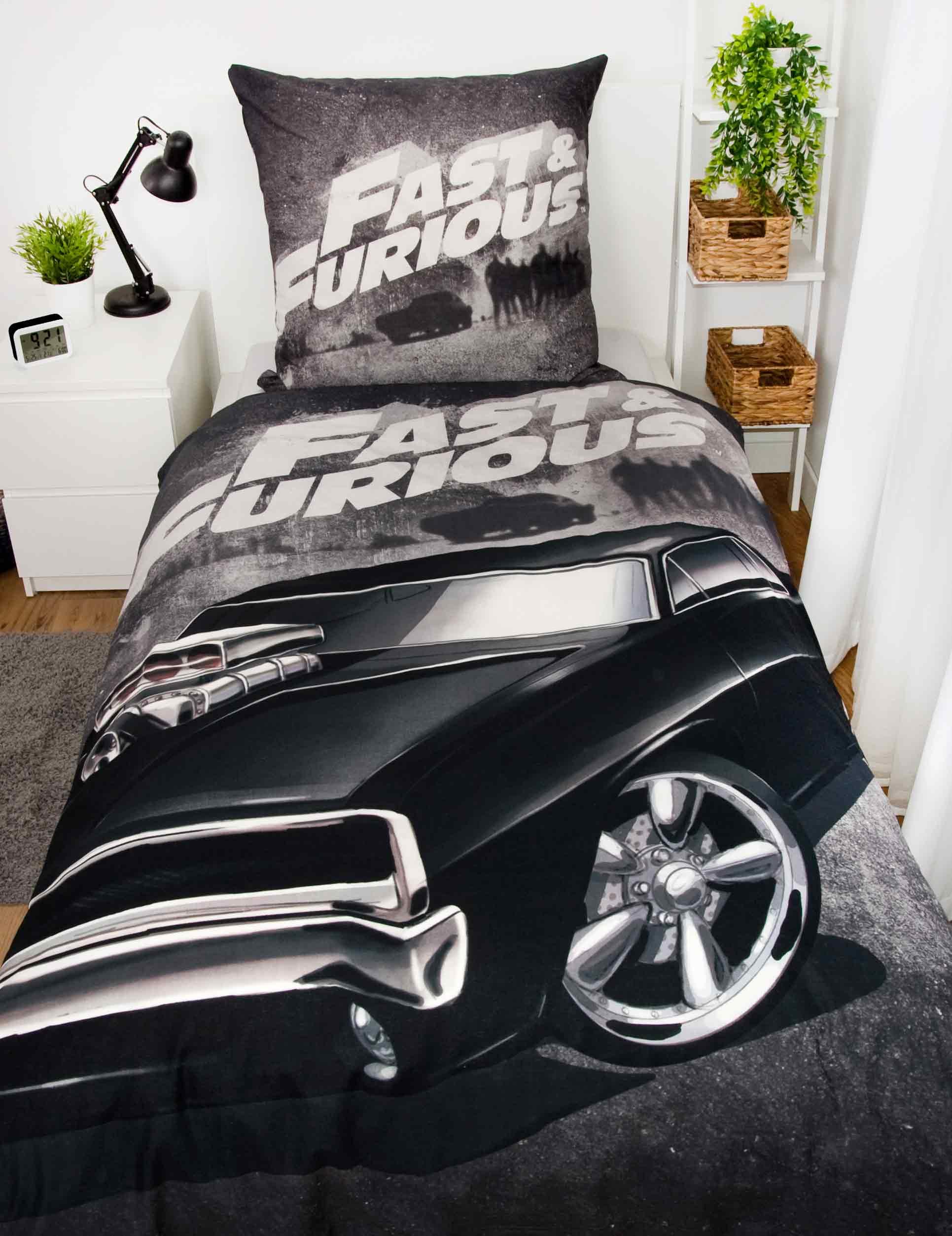 Produktbild Bettwäsche fast and furious Schwarz ganze Bettwäsche auf Bett