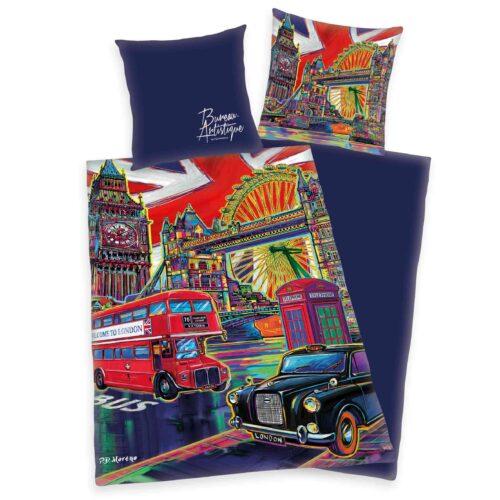 Produktbild Bettwäsche London blau bureau artistique Bettwäsche Vorderseite Rückseite