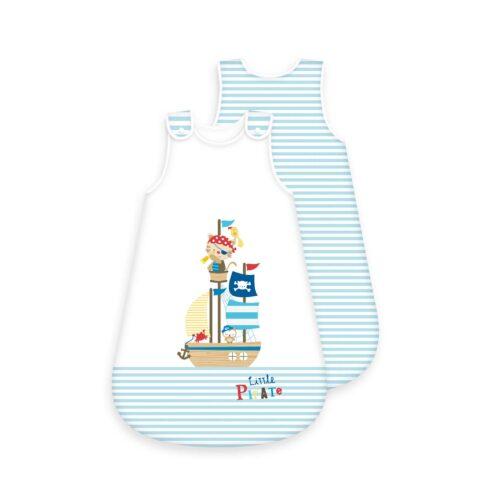 Produktbild Baby Schlafsack little Pirate weiß blau Schlafsack Vorderseite Rückseite