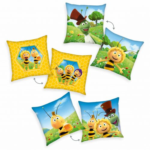 Produktbild Dekokissen 3er-set Biene Maja gelb grün Dekokissen Vorderseite Rückseite