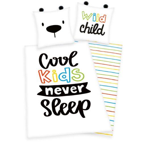 Produktbild Bettwäsche Cool kids never sleep Mehrfarbig Bettwäsche Vorderseite Rückseite