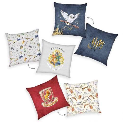 Produktbild Dekokissen 3er-set Harry Potter grau Gold blau rot Kissen Vorderseite Rückseite