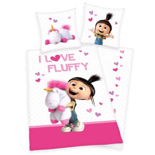 Produktbild Bettwäsche Minions Einhorn weiß pink Bettwäsche Vorderseite Rückseite