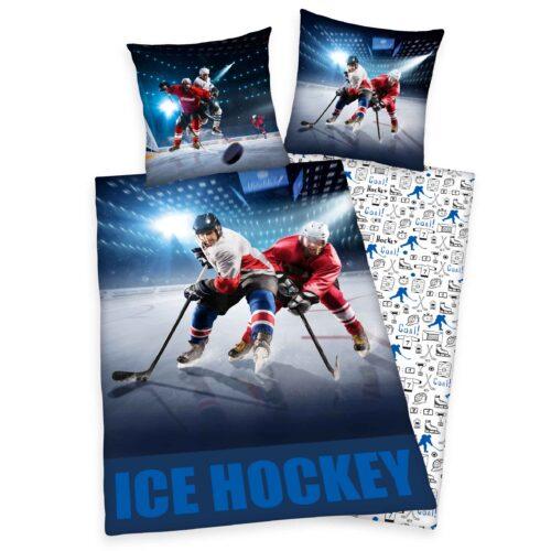 Produktbild Bettwäsche Eishockey weiß blau Bettwäsche Vorderseite Rückseite