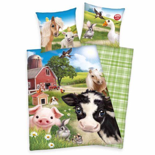 Produktbild Bettwäsche farm world animal club grün blau Bettwäsche Vorderseite Rückseite