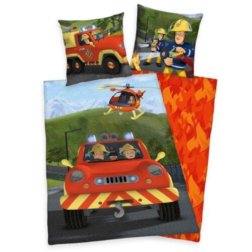 Produktbild Winterbettwäsche Feuerwehrmann Sam rot Bettwäsche Vorderseite Rückseite