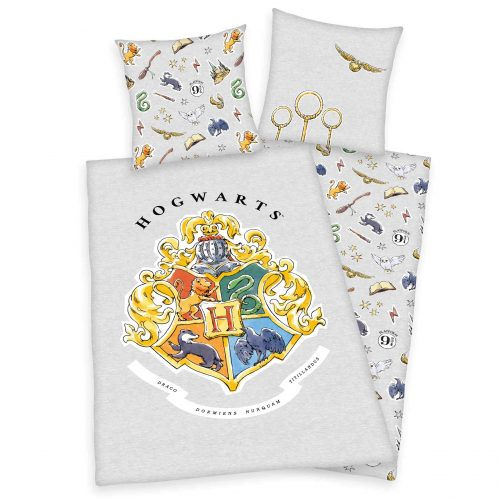 Produktbild Bettwäsche Harry Potter grau Gold Bettwäsche Vorderseite Rückseite