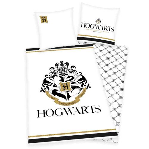 Produktbild Bettwäsche Hogwarts weiß schwarz Gold Bettwäsche Vorderseite Rückseite