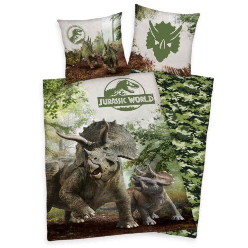 Produktbild Bettwäsche Jurassic World grün Bettwäsche Vorderseite Rückseite