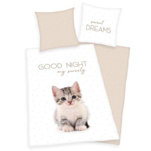 Produktbild Bettwäsche Katzen weiß ganze Bettwäsche Vorderseite Rückseite