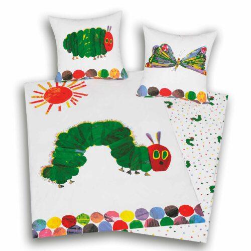 Produktbild Bettwäsche Raupe Nimmersatt weiß grün Bettwäsche Vorderseite Rückseite