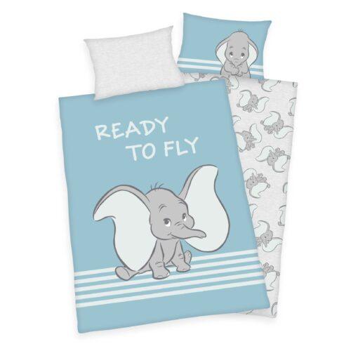 Produktbild Babybettwäsche Disney Dumbo blau ganze Bettwäsche Vorderseite Rückseite