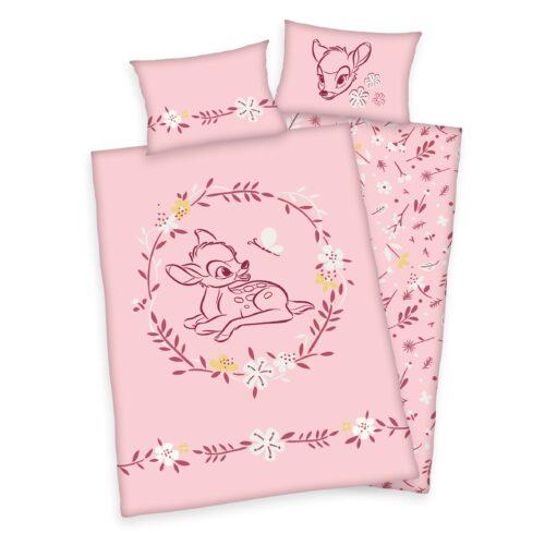 Produktbild Bettwäsche Disney Bambi rosa ganze Bettwäsche Vorderseite Rückseite