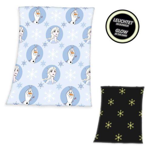 Produktbild Fleece Decke Die Eiskönigin 2 glow in the dark weiß schwarz Decke Vorderseite Rückseite