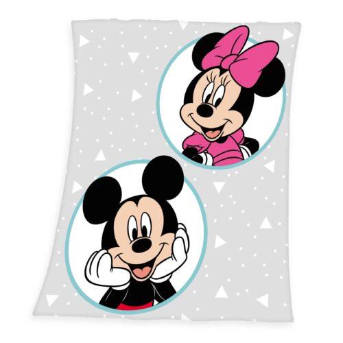 Produktbild Fleece Decke Disney Mickey Mouse weiß grau Decke Vorderseite Rückseite