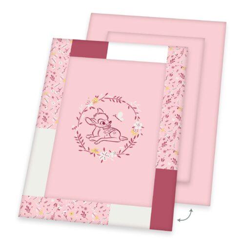 Produktbild Krabbeldecke Baby Bambi hellrosa Decke Vorderseite Rückseite